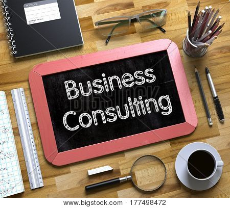 Business Consulting on Small Chalkboard. Business Consulting Concept on Small Chalkboard. 3d Rendering.