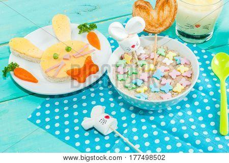 Funny Children's Breakfast At Easter