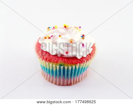 closeup colorful cup cake on white background