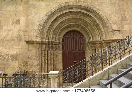 Side door of romanesque church of Santiago XII-XIII centuries. Coimbra Portugal