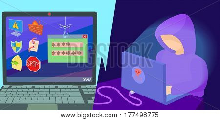 Hacker horizontal banner concept. Cartoon illustration of hacker vector horizontal banner for web