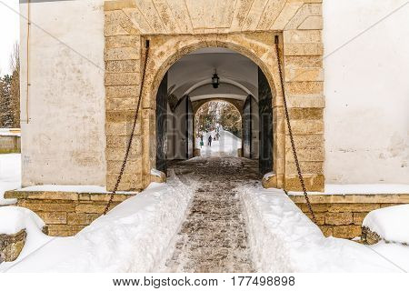 Varazdin Old Town gate in winter time, one of the most important tourist centers of northern Croatia.