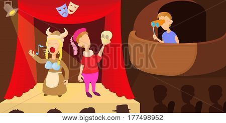 Theater actors horizontal banner concept. Cartoon illustration of theater actors vector horizontal banner for web
