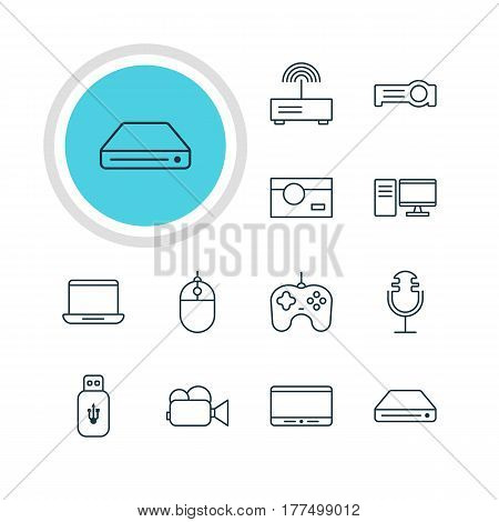 Vector Illustration Of 12 Hardware Icons. Editable Pack Of Floodlight, Sound Recording, Photography And Other Elements.