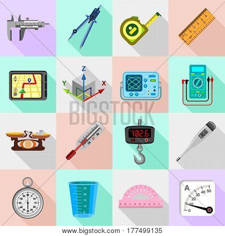 Measure precision icons set. Flat illustration of 16 measure precision icons set vector icons for web