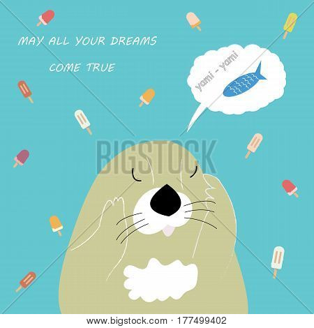 Postcard with dreaming otter and ice cream