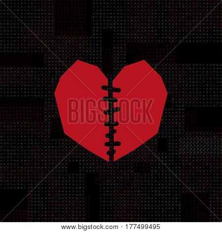Red sewn flat heart on black background