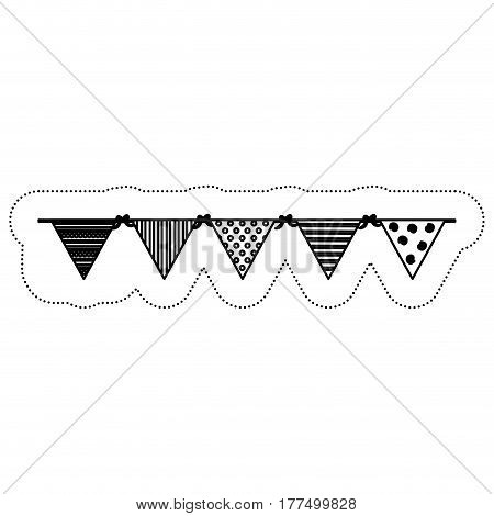decorative pennants icon over white background. vector illustration