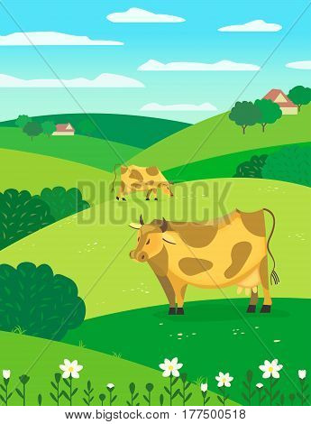 Country landscape. Freehand drawn cartoon outdoors style. Herd of grazing cows on summer green meadow. Rural community farm houses scene view on hills, fields, trees. Vector countryside background