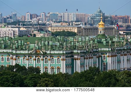 View of The Winter Palace from the colonnade of the Saint Isaac's Cathedral. St. Petersburg, Russia