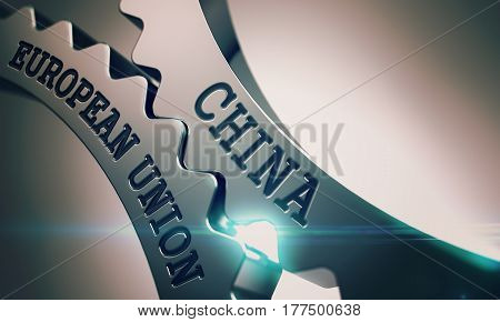 China European Union on Mechanism of Shiny Metal Cogwheels. Communication Concept in Technical Design. China European Union - Illustration with Lens Effect. 3D.