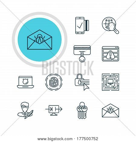 Vector Illustration Of 12 Web Safety Icons. Editable Pack Of Key Collection, System Security, Easy Payment And Other Elements.