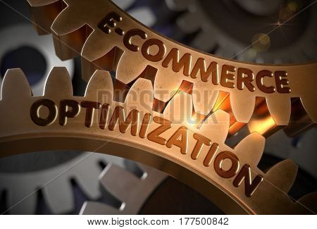 E-Commerce Optimization on Mechanism of Golden Gears. E-Commerce Optimizationon Golden Metallic Cog Gears. 3D Rendering.