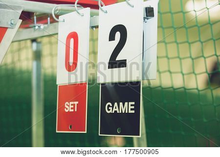 Volleyball view of scoreboard In an open stadium