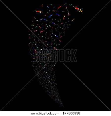 Syringe random fireworks stream. Vector illustration style is flat bright multicolored iconic symbols on a black background. Object fountain combined from scattered icons.