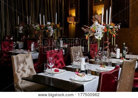 Beautiful restaurant decorated for a wedding celebration