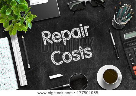 Black Chalkboard with Repair Costs. 3d Rendering.