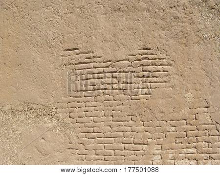 Detail of wall, grunge texture of clay, old brick masonry