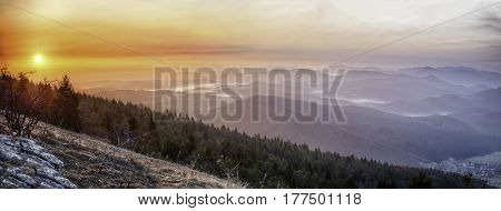 Slovenian sunrise over the misty mountains covered with pine forest. Pictoresque landscape of the wilderness in Slovenia. Beautiful bright colors and hills in the fog. Dinaric Alps.