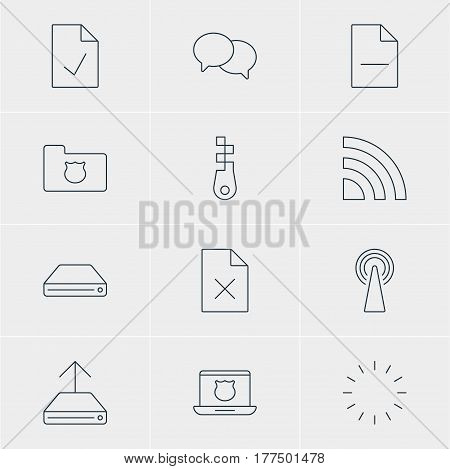 Vector Illustration Of 12 Web Icons. Editable Pack Of Fastener, Waiting, Hard Drive Disk And Other Elements.