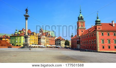 Colorful Houses In The Historic Centre Of Warsaw, Poland