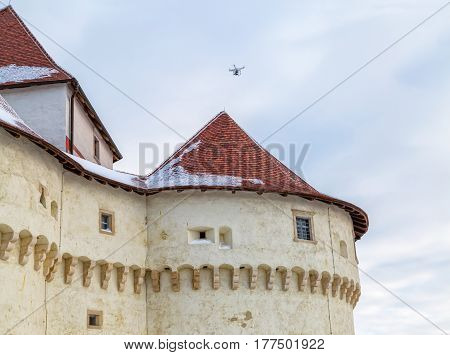 Drone filming the old castle Veliki Tabor in Croatia, a Croatia's northwestern fortification system.
