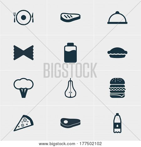 Vector Illustration Of 12 Dish Icons. Editable Pack Of Flan, Drink Bottle, Pizzeria And Other Elements.