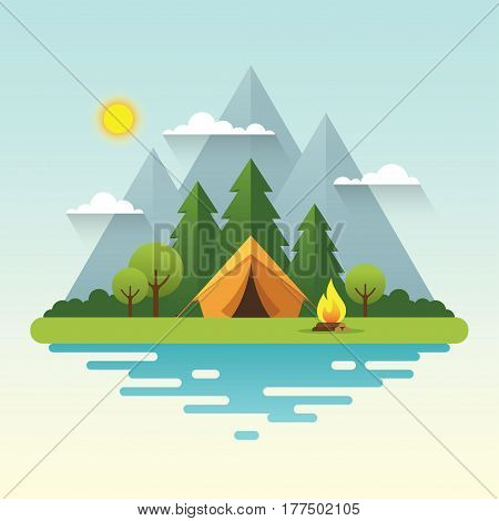 Sunny day landscape illustration in flat style with tent campfire mountains forest and water. Background for summer camp nature tourism camping or hiking design concept.