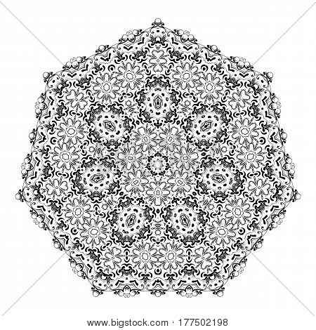 Flower Mandalas. Vintage Decorative Elements