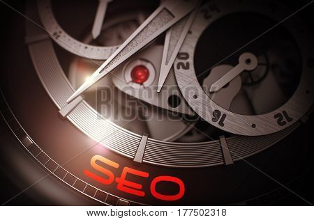 SEO - Search Engine Optimization - Inscription on Luxury Men Wristwatch with Visible Mechanism, Clockwork Close-Up. Luxury, Mens Vintage Accessory. Business Concept. 3D.