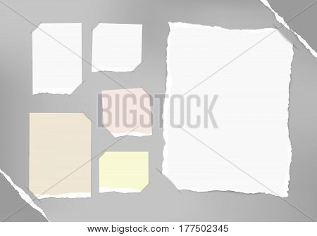 White and pastel blank note, notebook, copybook sheets inserted into background with gray paper in corners
