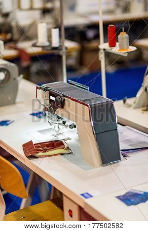 Sewing Machine  In Factorywoodworking Machine In Factory, Color Image, Indoors Image