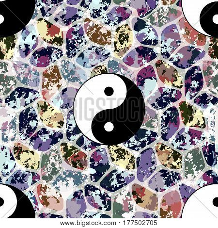 Colorful seamless pattern, asian backdrop. Yin and Yang