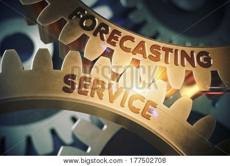 Forecasting Service on Mechanism of Golden Metallic Gears with Glow Effect. Forecasting Service Golden Metallic Gears. 3D Rendering.