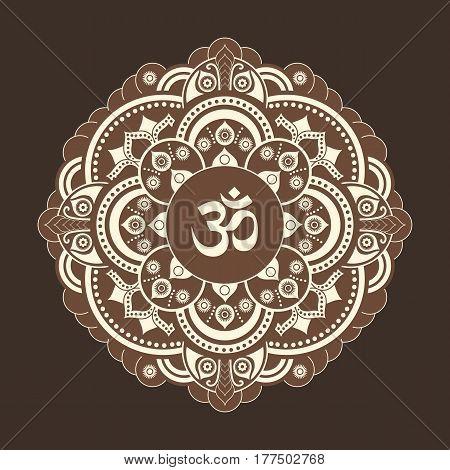 vector henna tatoo mandala. OM decorative symbol. Mehndi style