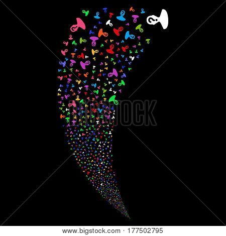 Unknown Person random fireworks stream. Vector illustration style is flat bright multicolored iconic symbols on a black background. Object fountain created from scattered design elements.