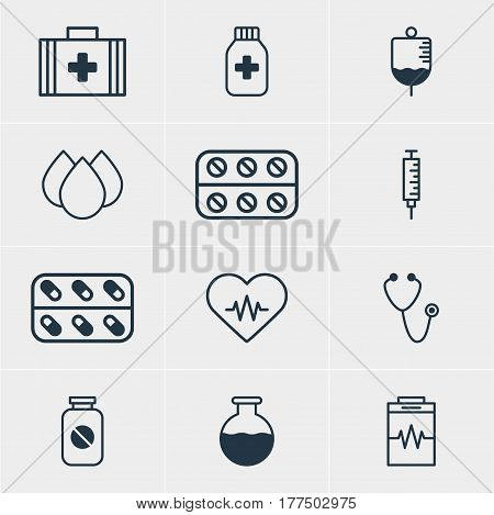 Vector Illustration Of 12 Medicine Icons. Editable Pack Of Pulse, Medicine Jar, Medical Bag And Other Elements.