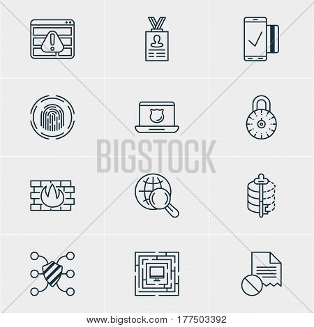 Vector Illustration Of 12 Data Icons. Editable Pack Of Data Error, Internet Surfing, Safe Lock And Other Elements.