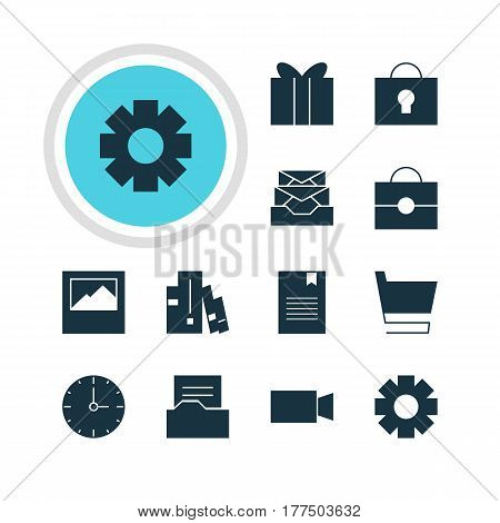 Vector Illustration Of 12 Online Icons. Editable Pack Of Video Camera, Trolley, Messages And Other Elements.