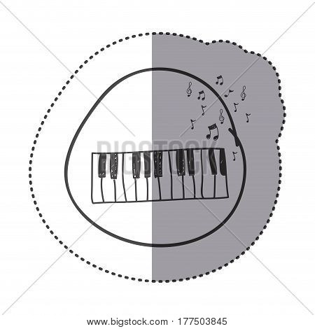 figure piano instrument with note musical icon, vector illustration design