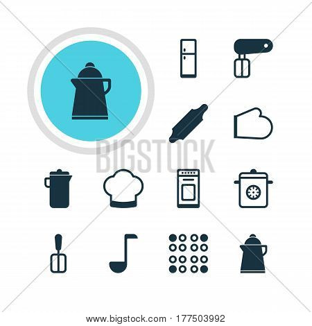Vector Illustration Of 12 Kitchenware Icons. Editable Pack Of Soup Spoon, Bakery Roller, Oven Mitts And Other Elements.