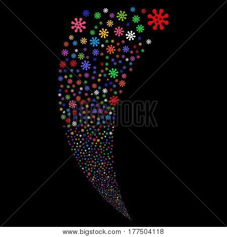 Virus random fireworks stream. Vector illustration style is flat bright multicolored iconic symbols on a black background. Object fountain combined from scattered pictograms.