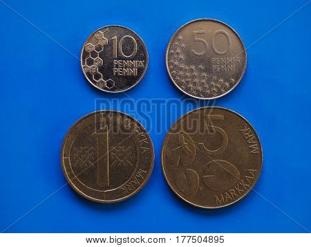 Finnish Coins Pre Euro Era Over Blue
