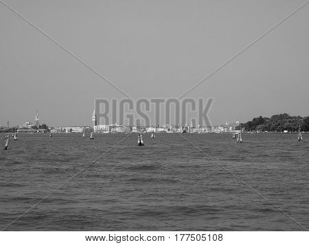 View Of The City Of Venice In Black And White