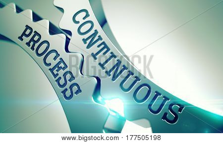Continuous Process - Illustration with Glow Effect and Lens Flare. Continuous Process on Metal Cog Gears, Enterprises Illustration with Glow Effect and Lens Flare. 3D Render.
