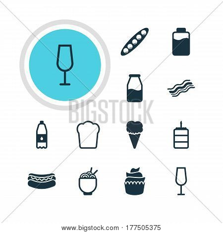 Vector Illustration Of 12 Eating Icons. Editable Pack Of Spaghetti, Ham, Goblet And Other Elements.