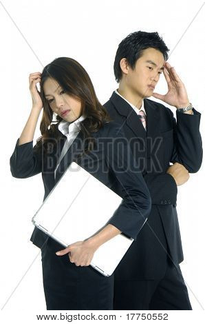 Young couple Business man thinking poster