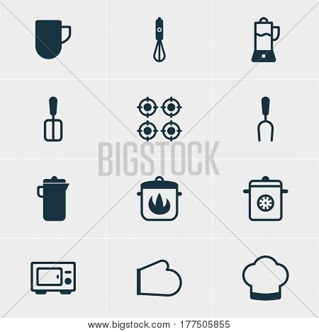 Vector Illustration Of 12 Restaurant Icons. Editable Pack Of Cooking Spade, Furnace, Barbecue Tool And Other Elements.