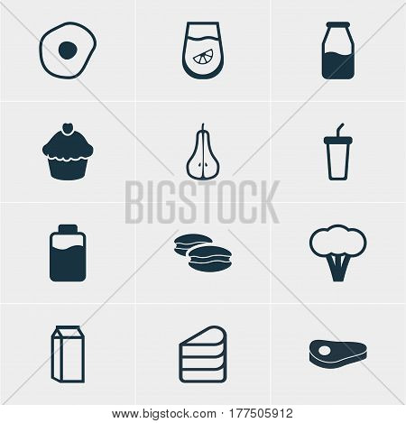 Vector Illustration Of 12 Cooking Icons. Editable Pack Of Cotton, Duchess, Sirloin And Other Elements.