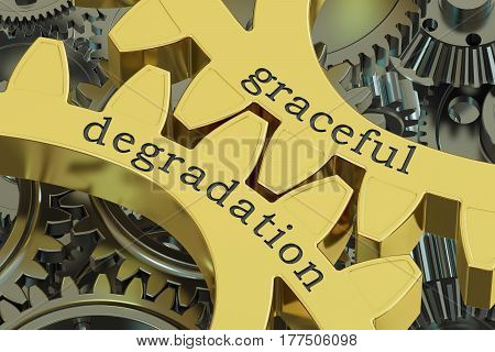 graceful degradation concept on the gearwheels 3D rendering